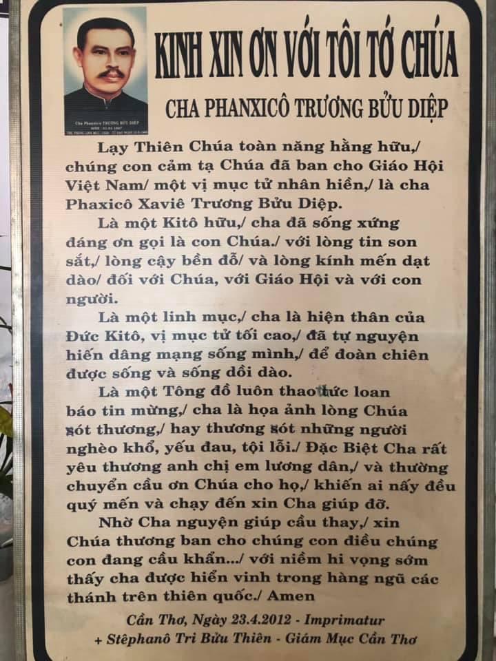 Kinh Xin Ơn Tôi Tớ Chúa Cha Phanxico Trương Bửu Diệp