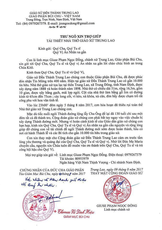 Lòng hảo tâm của bạn dành cho giáo xứ Trung Lao