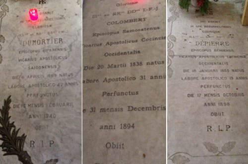 Những ngôi mộ trong nhà thờ Đức Bà Sài Gòn