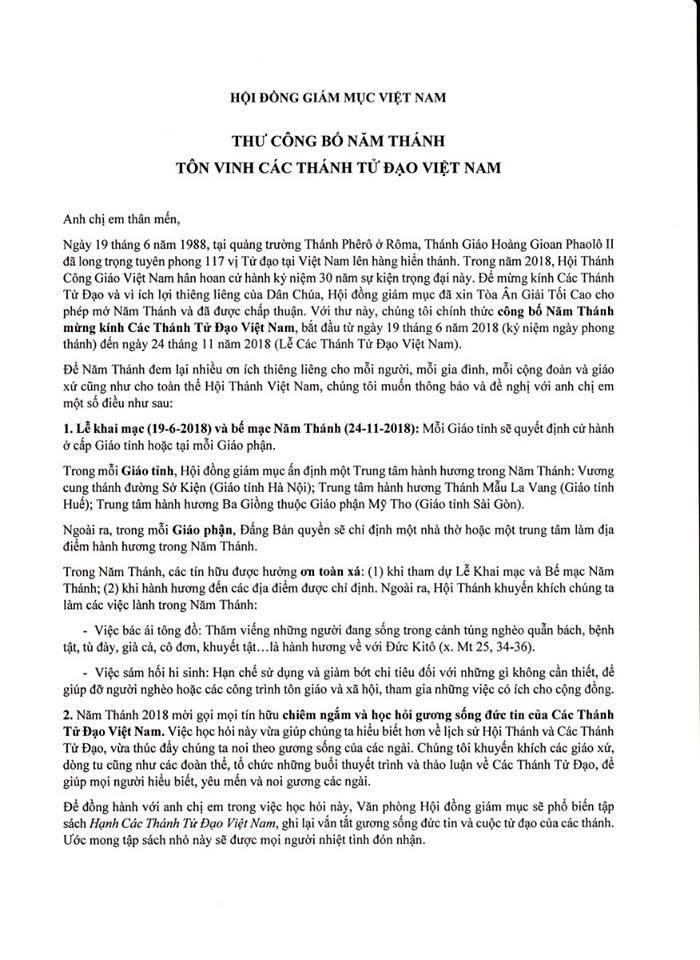 Thư Công Bố Mở Năm Thánh 2018 Mừng Kỷ Niệm 30 Năm Tuyên Phong 117 Thánh Tử Đạo Việt Nam