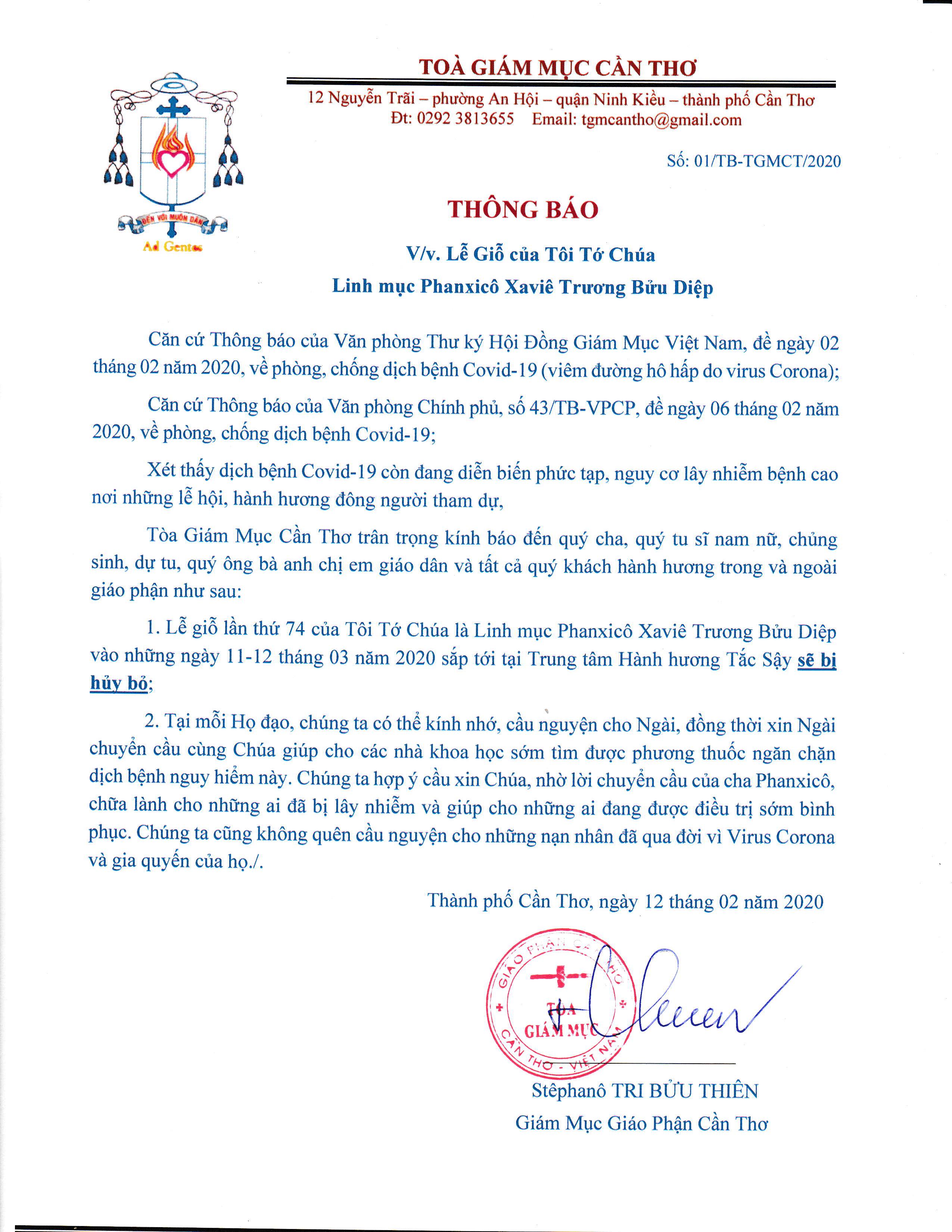 Thông báo hủy bỏ Lễ Giỗ cha Fx. Trương Bửu Diệp Năm 2020 vì dịch Corona